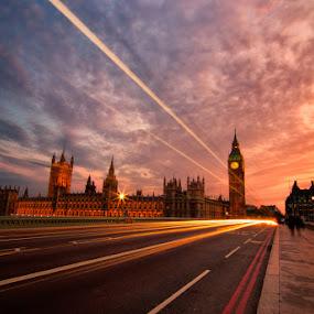 Big Ben at dusk by Chris Sargent - Travel Locations Landmarks ( pwclandmarks, london, light trails, night, big ben )