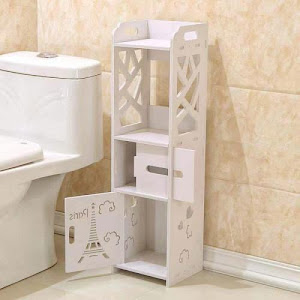 Dulap din lemn pentru baie, 22 x 20 x 80 cm, Alb