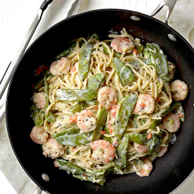 One-Pot Shrimp and Snow Pea Alfredo Pasta Recipe