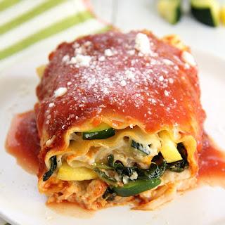 Creamy Vegetable Lasagna Rolls.
