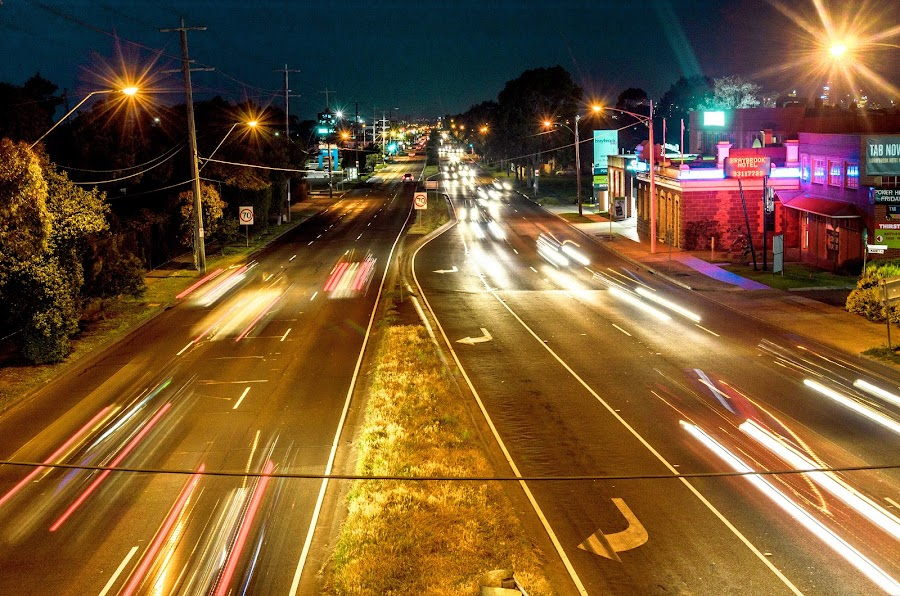Ballarat street by Sb Sangpi - City,  Street & Park  Street Scenes ( lights, melbourne, street, busy, night )