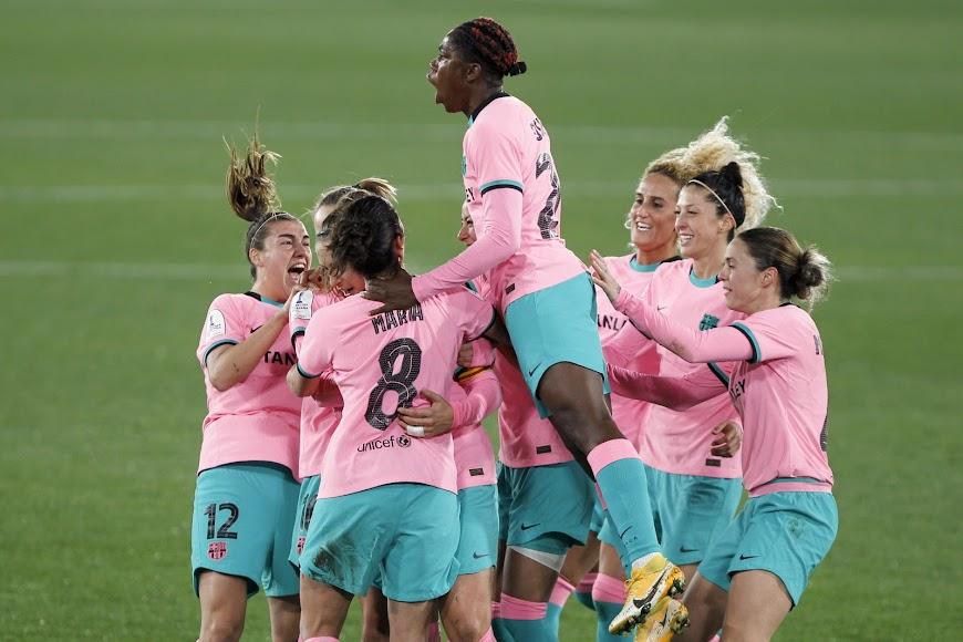 El Barça celebrando el gol de Alexia Putellas.