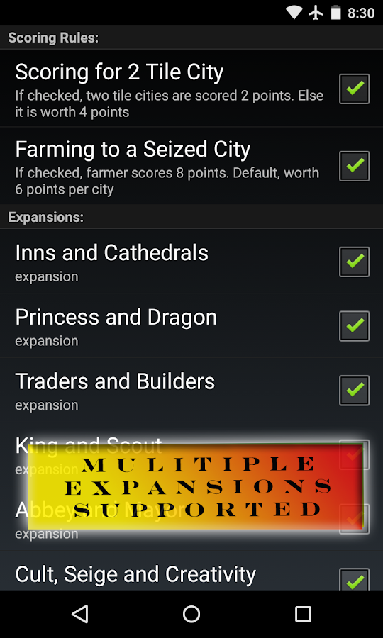 Carcassonne Scoreboard - screenshot
