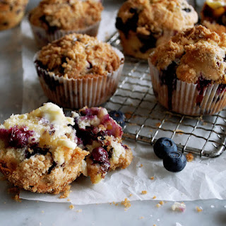 Chocolate Chip Blueberry Cream Streusel Muffins Recipe