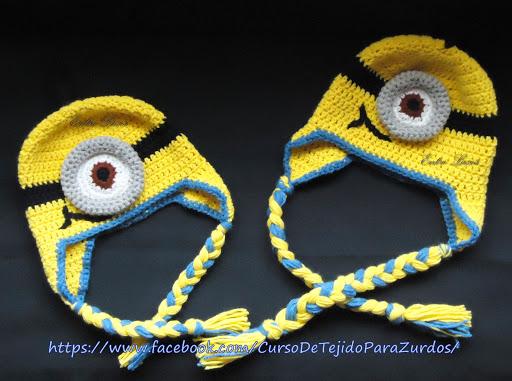 gorro base minions tejido al crochet ganchillo para zurdos