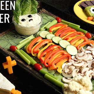 Halloween Veggie Tray Appetizer Trio.