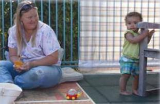 A caregiver observing infants