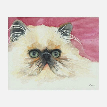 10原裝水彩畫 24x19cm Original Painting Lazy Cat