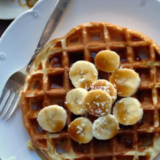 Belgian Waffles with Banana and Coconut Caramel Sauce.