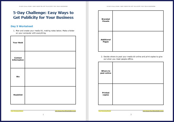 How to Attract Free Publicity - Bonus Challenge Worksheet 5
