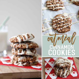 Oatmeal Cinnamon Cookies with Maple Cream Cheese Glaze