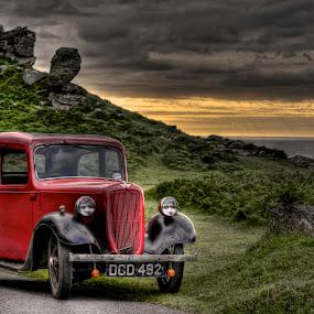 Classic Car by Luke Aylen - Transportation Automobiles ( car, hills, red, classic car, cliffs, hdr, sunset, sea, evening, coast, red car )