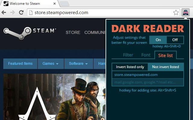 dark reader chrome web store