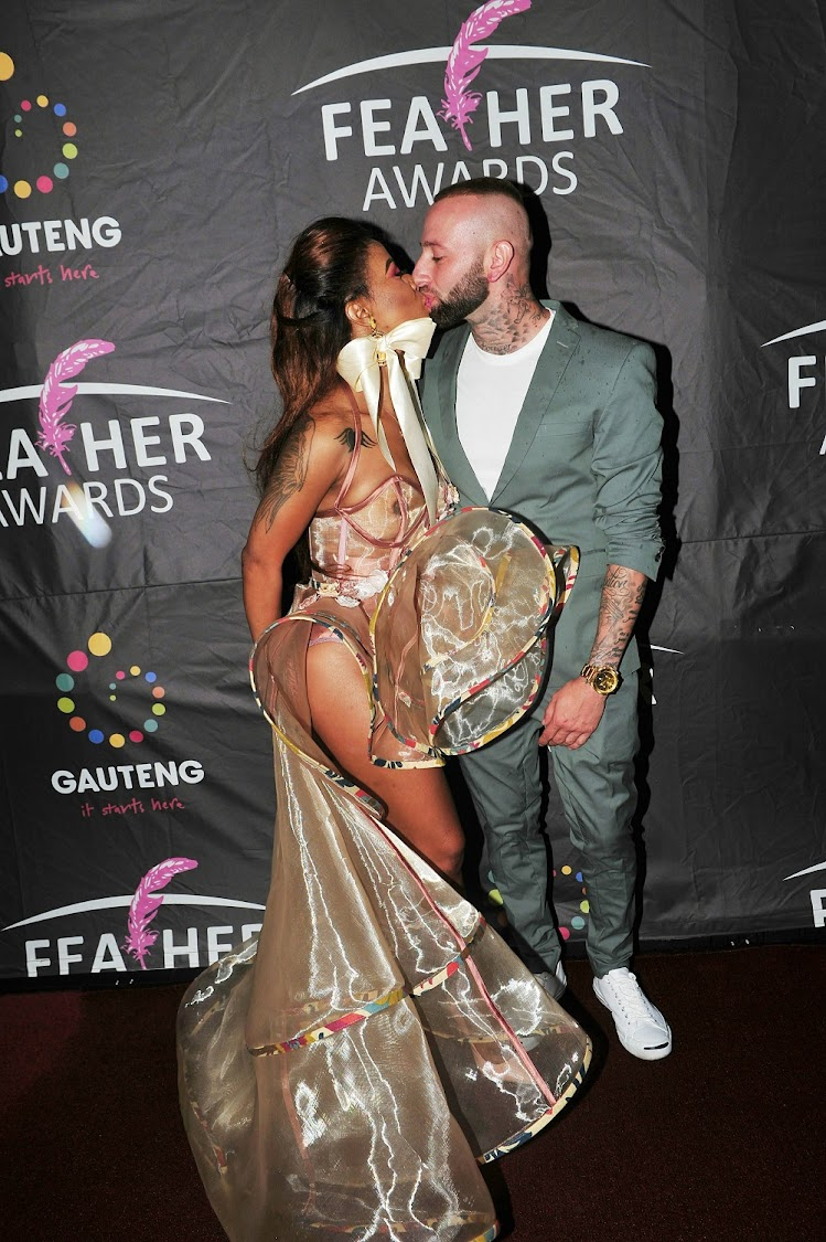 Kelly Khumalo and her partner Chad da Don at the 10th Feather Awards at City Hall in Johannesburg.