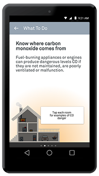 Nest app Know where carbon monoxide comes from screen