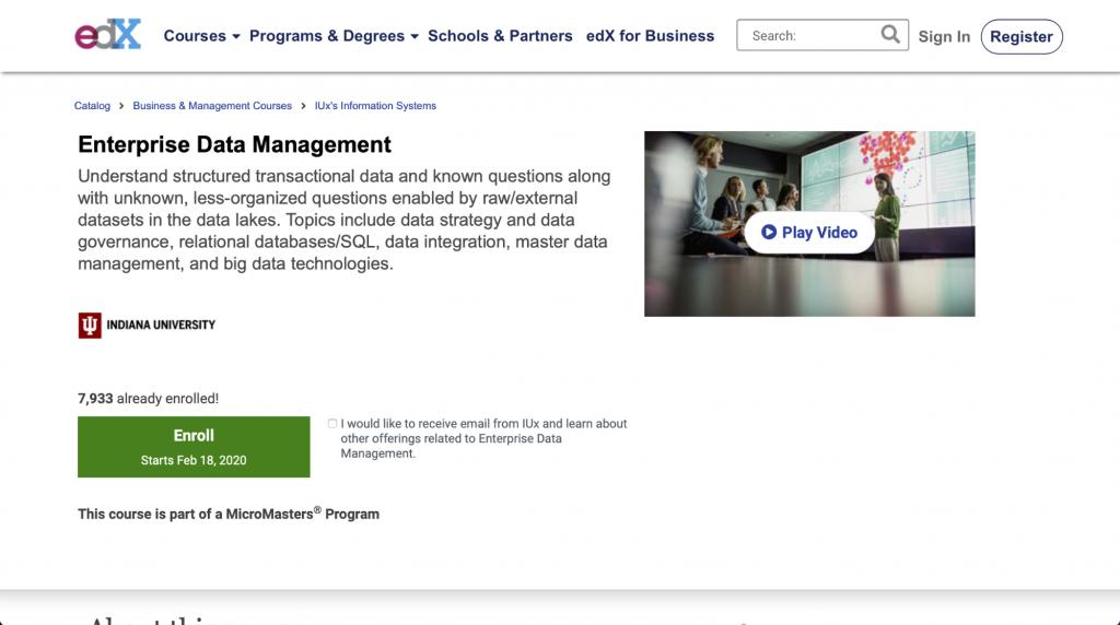 Datenmanagement für Unternehmen – Indiana University