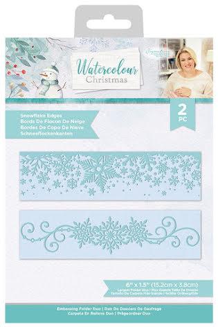 Sara Davies Watercolour Christmas Embossing Folder Set - Snowflake Edges