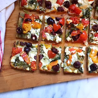Greek Pizza with Pourable Pizza Crust