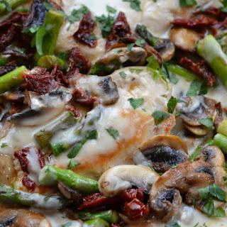 Easy Creamy Chicken Mushroom Asparagus Skillet.