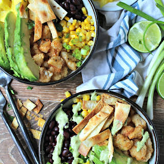 Fish Taco Bowls with Cauliflower Rice & Roasted Poblano Sauce.