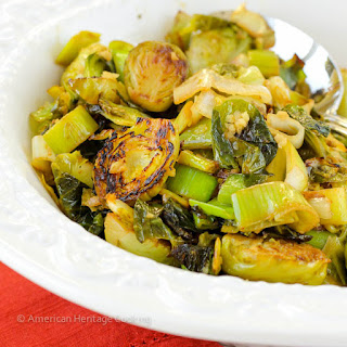 Brussels Sprouts and Leeks with Lime-Ginger Butter.