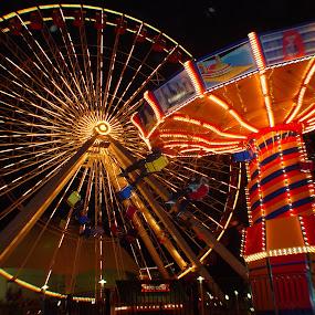Night at the fair by James Rudick - City,  Street & Park  Amusement Parks ( amusement park, night scene, ferris wheel, night, lights,  )