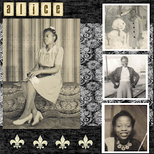 Photo: This is my maternal grandmother. Papers from Shabby Princess Urban Kiwi Kit; Fleur-de-lis from CottageArts.net Hertiage Kit; Alphabet letters from Shabby Princess Shabby Fall Kit.