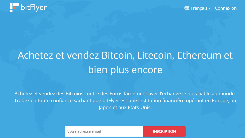 Page d'accueil du site Bitflyer qui permet d'entrer son e-mail pour débuter l'inscription.