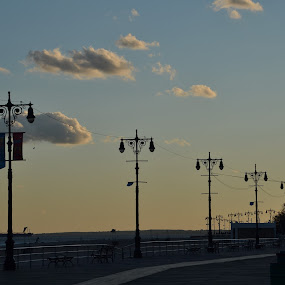Coney Island by Valeria Carteri - City,  Street & Park  Amusement Parks ( clouds, sunset, streetlights, new york, coney island )