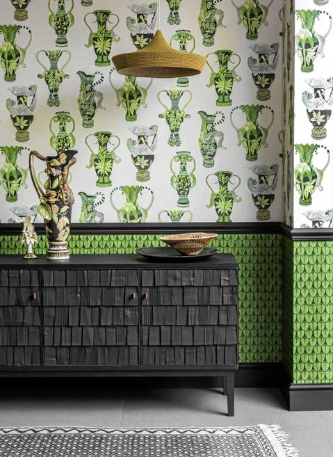 'Khulu Vases' (above) and 'Narina' (below) from Cole & Son's Ardmore wallpaper collection