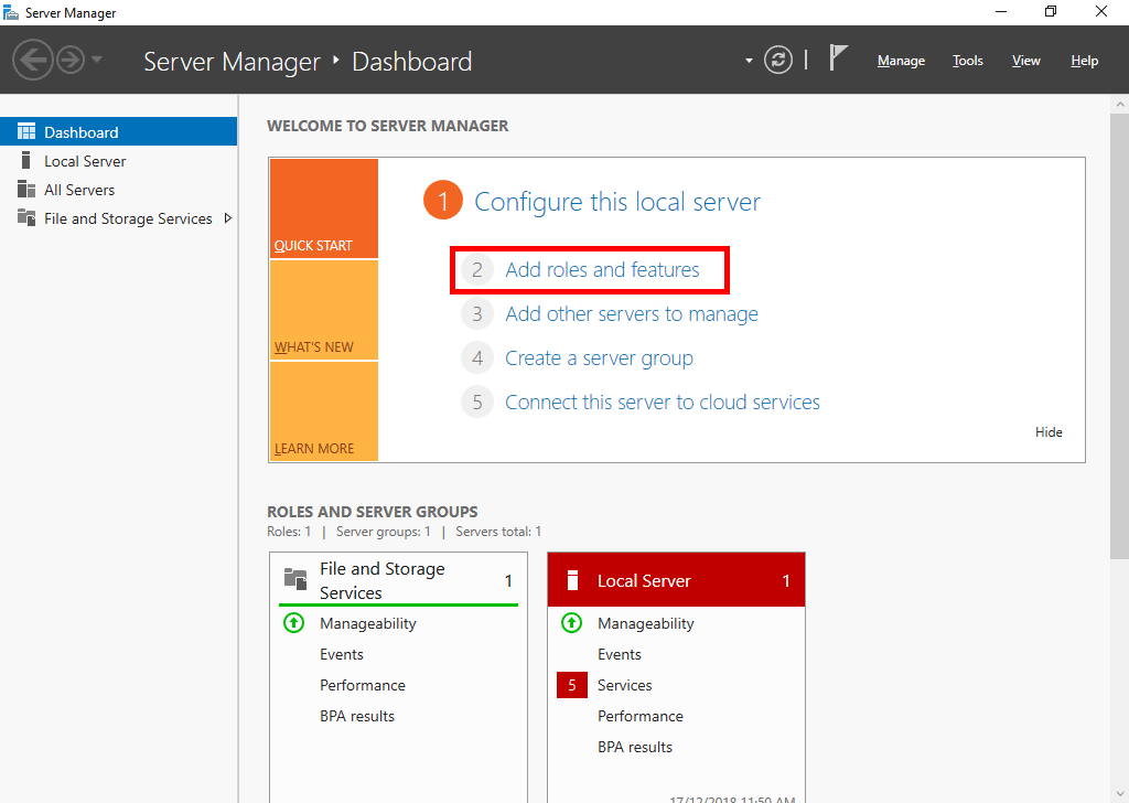 Server Manager Add Roles And Features Windows Server 2019