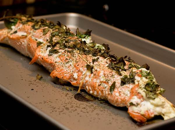 Salmon Stuffed With Goat Cheese