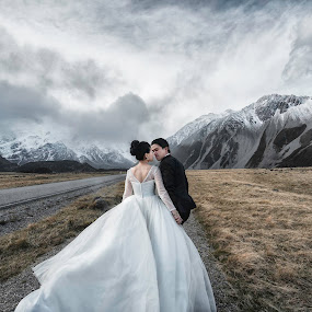 New Zealand - Mt Cook by Wee Heong - Wedding Bride & Groom ( love, mtcook, kiss, newzealand, gown, nz, bride )