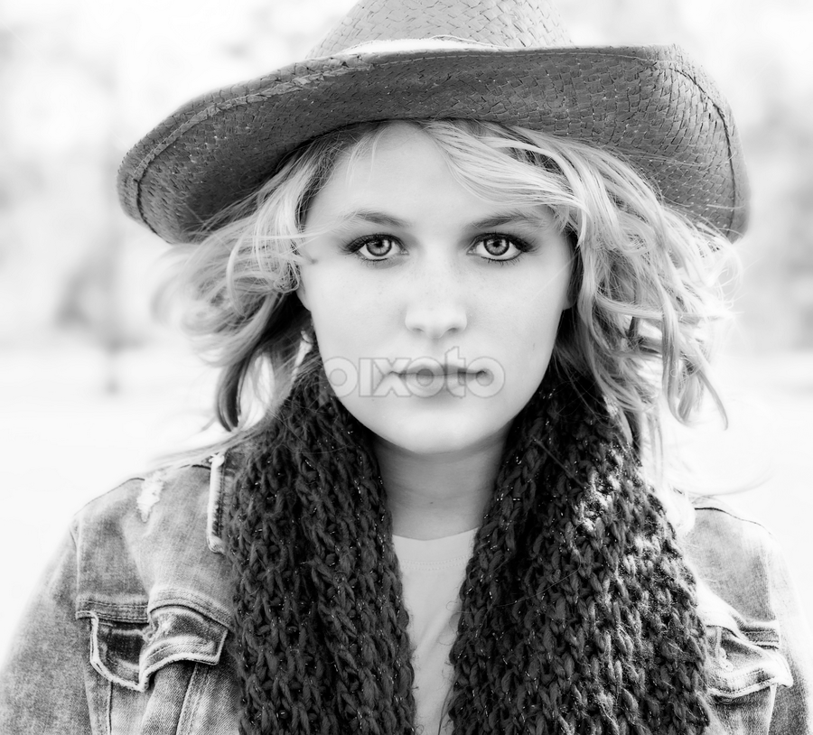 by Brook Kornegay - Black & White Portraits & People ( girl, b&w, black and white, portrait, country, hat,  )