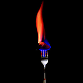 Burn your calories!! by Siddhartha Chitranshi - Abstract Fire & Fireworks ( abstract, concept, food, strawberry, fire, night, lights )