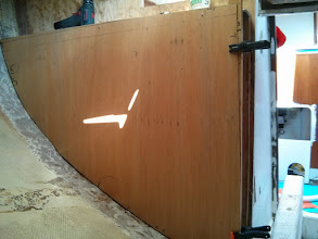 """Photo: test fitting 1/8"""" Luan Plywood template of new bulkhead."""