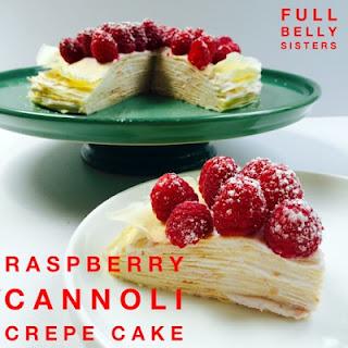 Raspberry Cannoli Cream Crepe Cake
