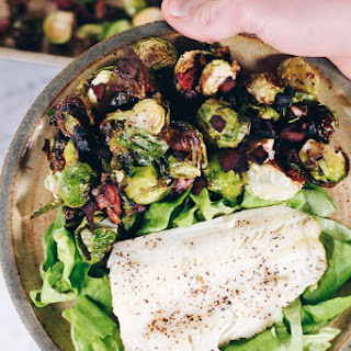 Pan Seared Cod With Garlicky Bacon Brussels Sprouts (Paleo + Whole30).