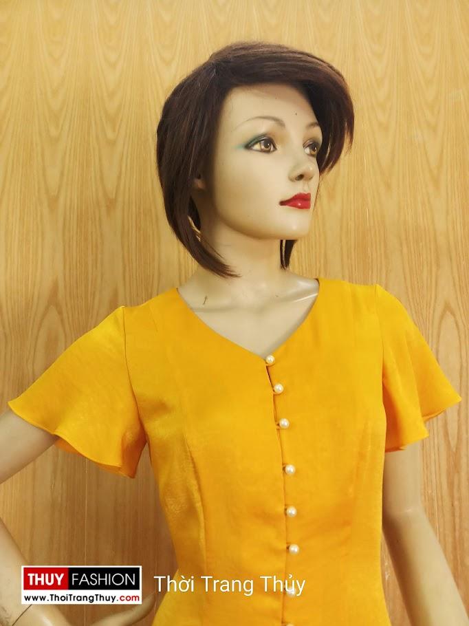 Váy xoè tay loe vải lụa màu vàng V687 thời trang thuỷ đà nẵng