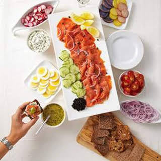 Cured or Smoked Salmon Appetizer Platter.