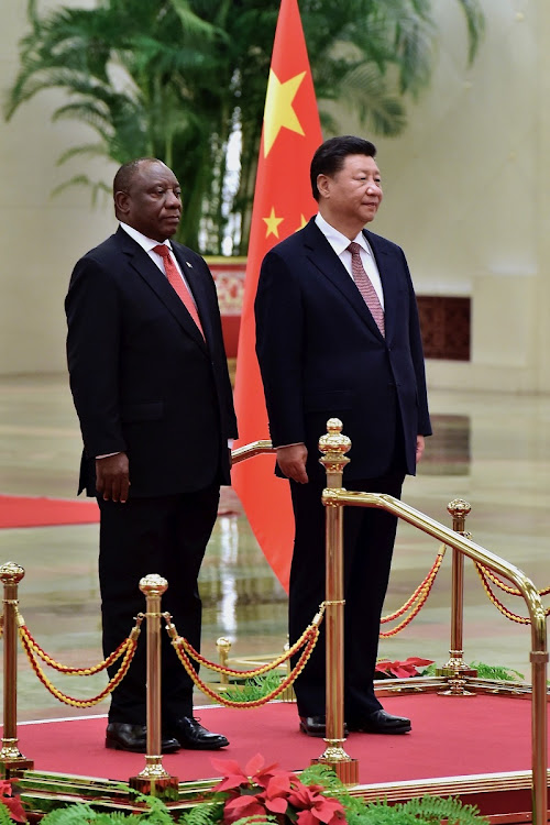 President Cyril Ramaphosa with President Xi Jinping of China during a Welcome Ceremony at the Great Hall of the People in China.
