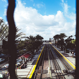by Hayley W - Instagram & Mobile Android ( train station, above, fullerton, fence, tracks )