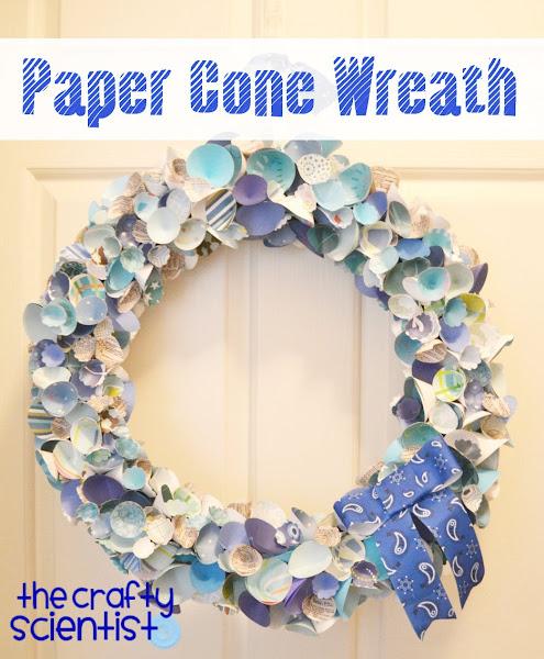 Photo: Paper cone wreath tutorial here: http://www.thecraftyscientist.com/2012/01/paper-cone-wreath.html.