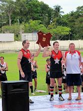 Photo: The ANZAC Friendship Shield held aloft by the Jakarta Bintangs.