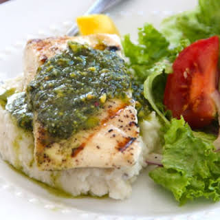 Grilled Halibut with Pistachio Pesto.