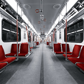 The New Subway Car in Toronto by Roland Shanidze - Transportation Trains ( ttc, subway, selective colour, canada, roland shainidze, metro, toronto, train, perspective, ontario, symmetry, red, white, pwc87 )