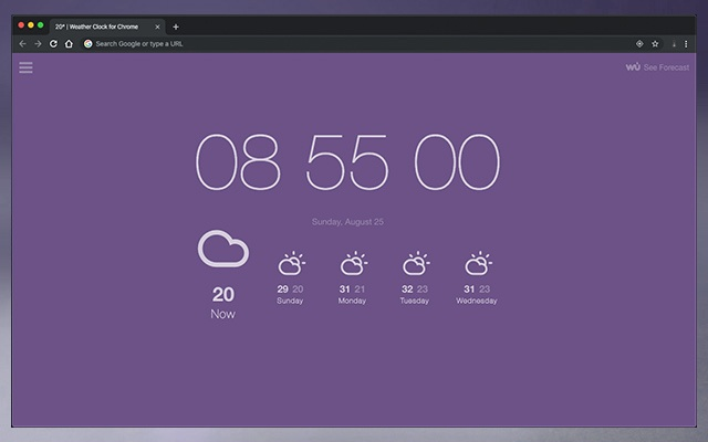 Weather Clock for Chrome