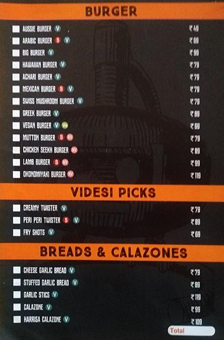 Videsi Shack menu 1