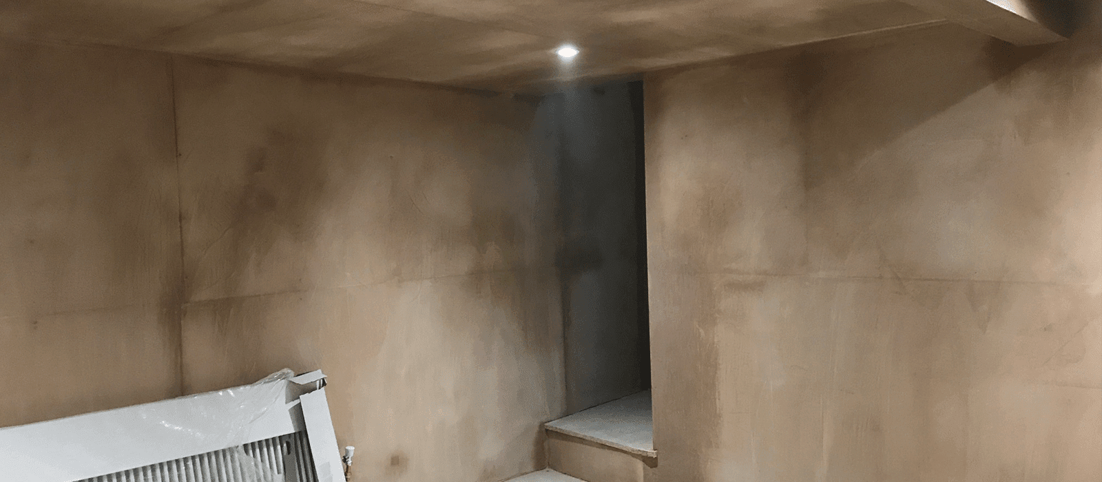 Usage of damp proofing membrane and complete finishes with plastering and associated works