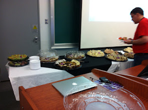 Photo: Lunch and dessert. I guess it's jhb@'s MacBook in front, since afterwards the working group results were presented.